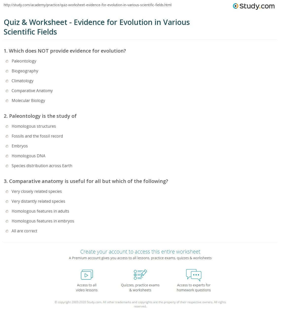 Quiz & Worksheet - Evidence for Evolution in Various Scientific ...