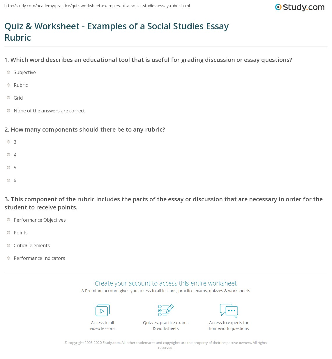 quiz worksheet examples of a social studies essay rubric print social studies essay rubric examples worksheet