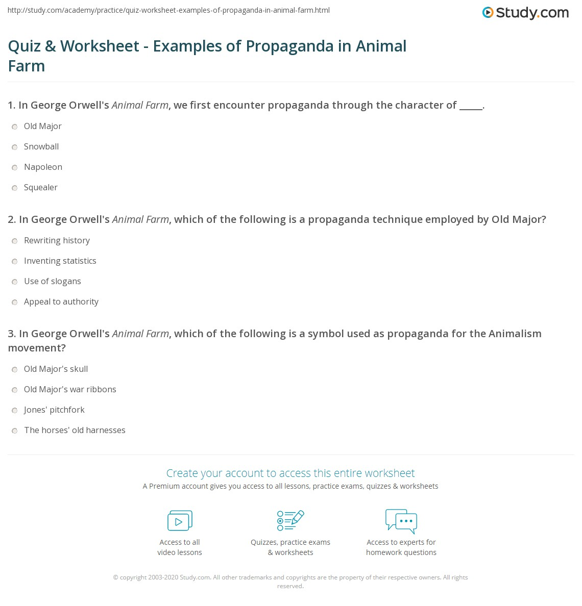 Quiz Worksheet Examples of Propaganda in Animal Farm – Propaganda Worksheets