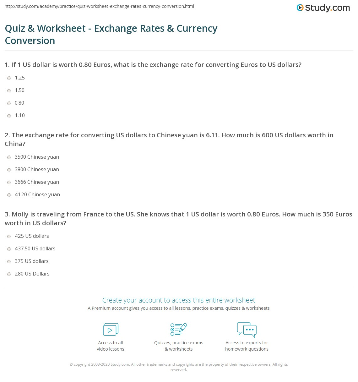 Currency Conversions Worksheet 2