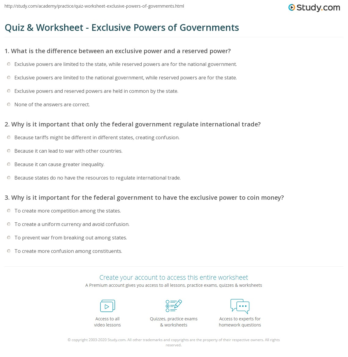 quiz worksheet exclusive powers of governments. Black Bedroom Furniture Sets. Home Design Ideas