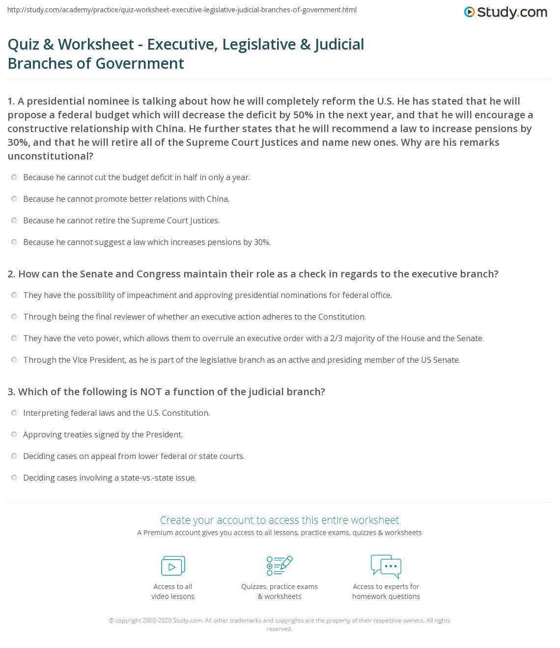 Quiz & Worksheet - Executive, Legislative & Judicial Branches of ...
