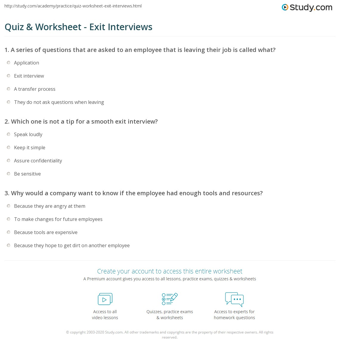 quiz worksheet exit interviews com print exit interview questions process tips worksheet