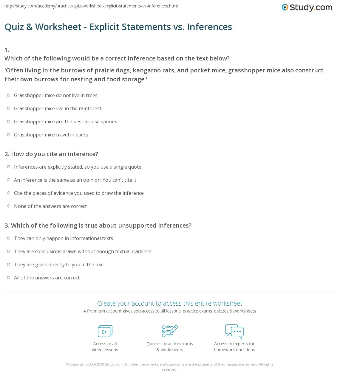 Quiz Worksheet Explicit Statements vs Inferences – Inference Worksheets Middle School