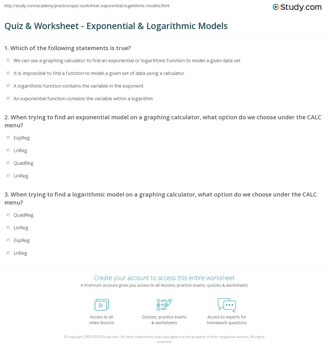 Quiz Worksheet Exponential Logarithmic Models – Exponential Decay Worksheet