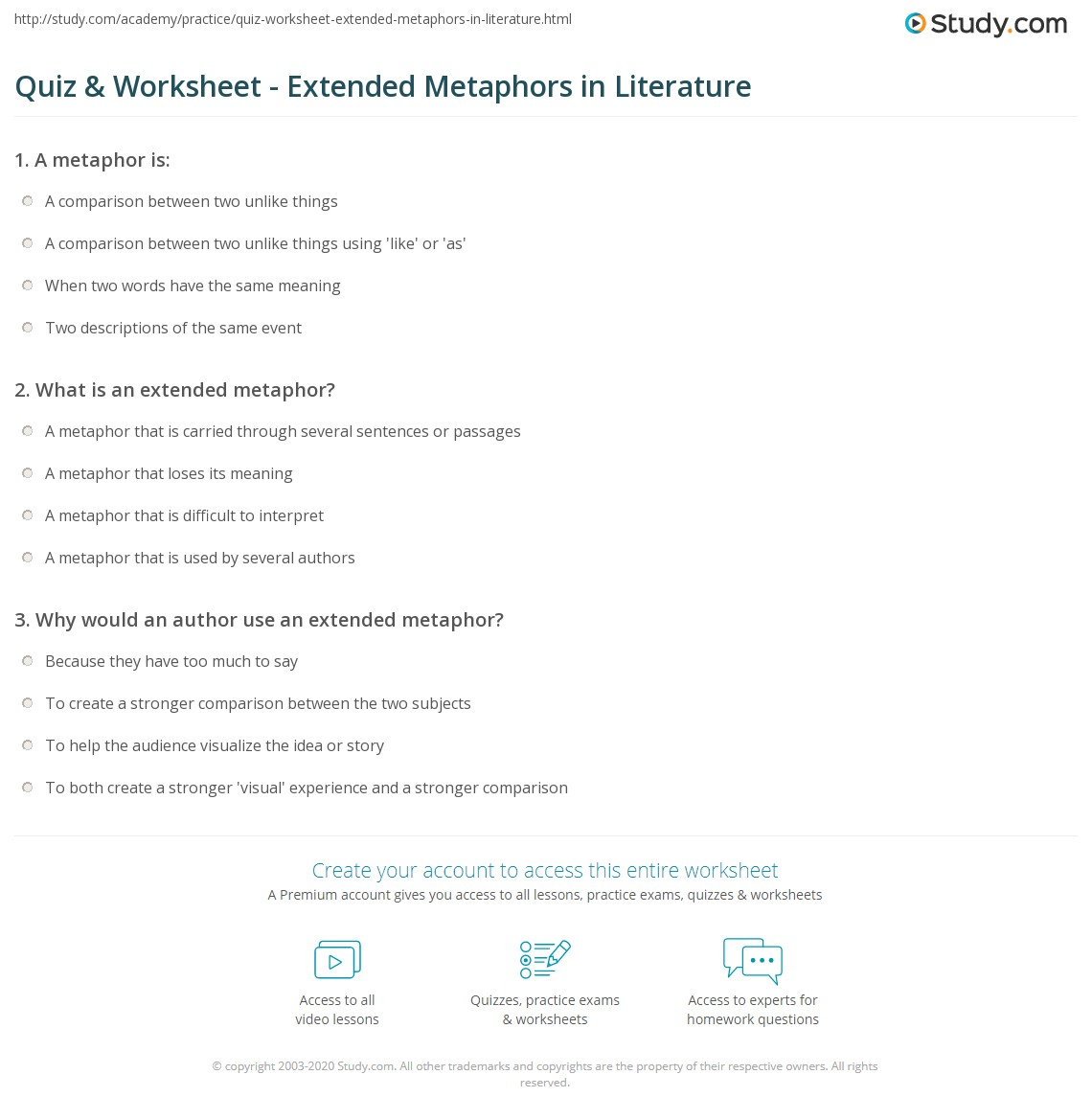 Quiz Worksheet Extended Metaphors in Literature – Metaphors Worksheets