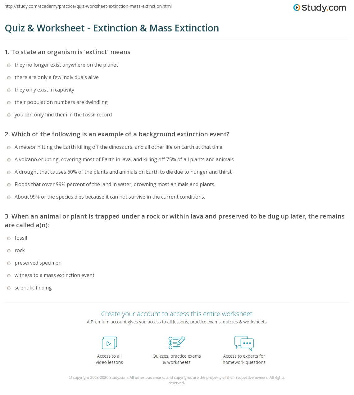 Quiz Worksheet Extinction Mass Extinction – Fossil Record Worksheet