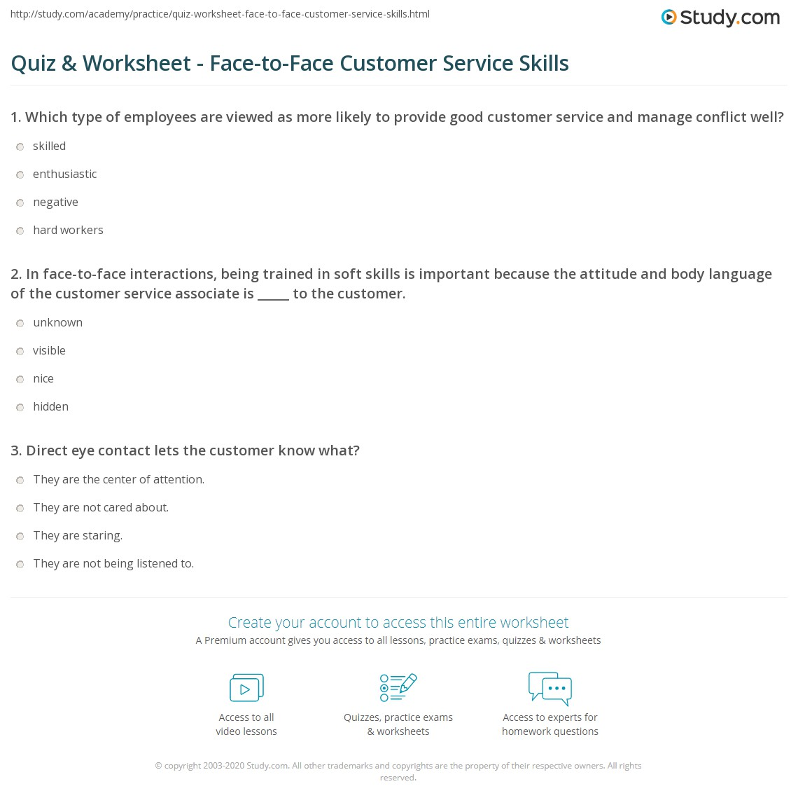 quiz worksheet face to face customer service skills study com print face to face customer service skills worksheet