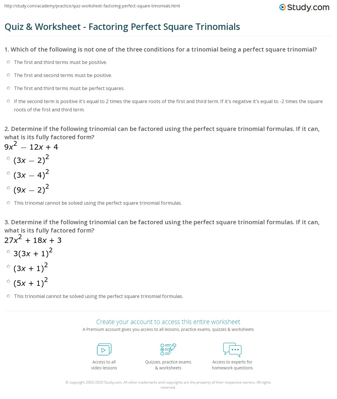 Quiz & Worksheet - Factoring Perfect Square Trinomials | Study.com