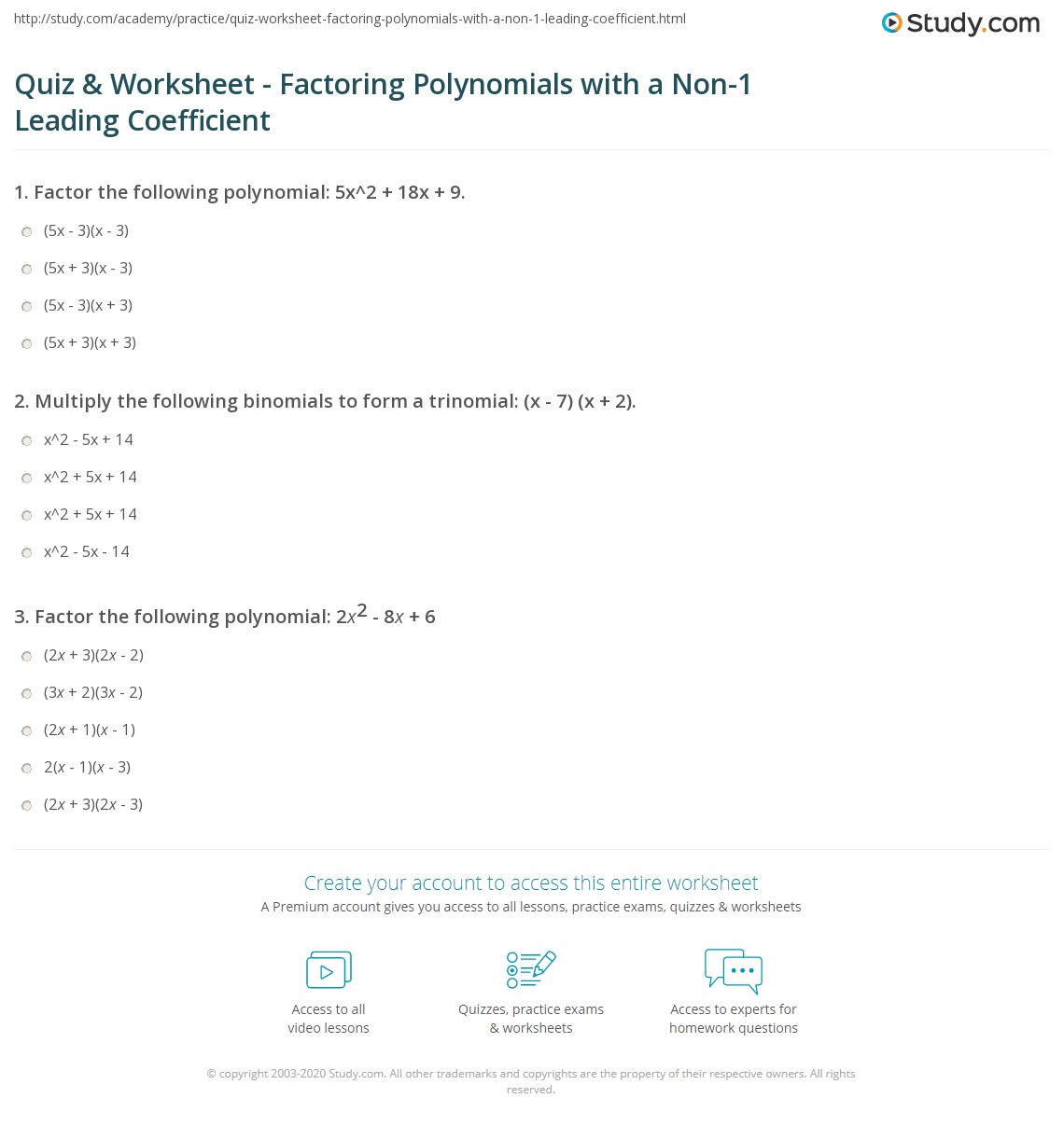 Quiz Worksheet Factoring Polynomials with a Non1 Leading – Factoring Polynomials Worksheet Answers