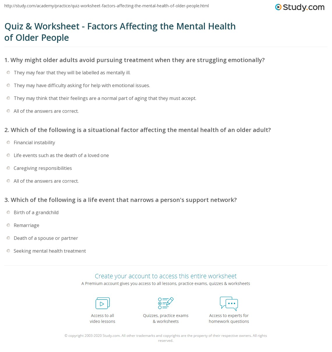 Worksheet Mental Health Worksheets quiz worksheet factors affecting the mental health of older print social people worksheet