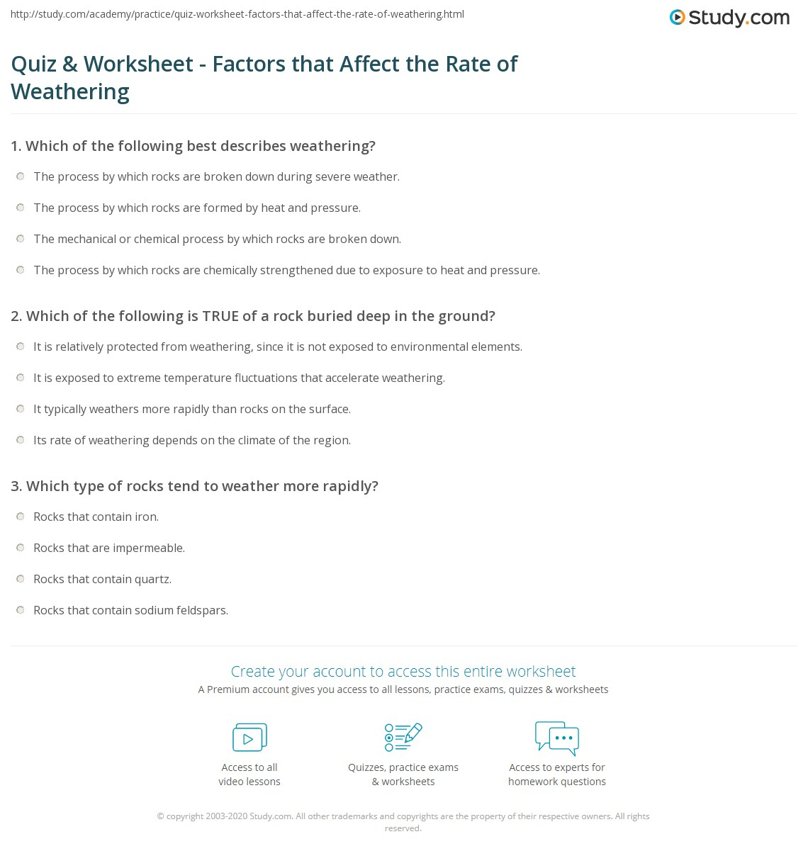 Quiz Worksheet Factors that Affect the Rate of Weathering – Weathering Worksheet