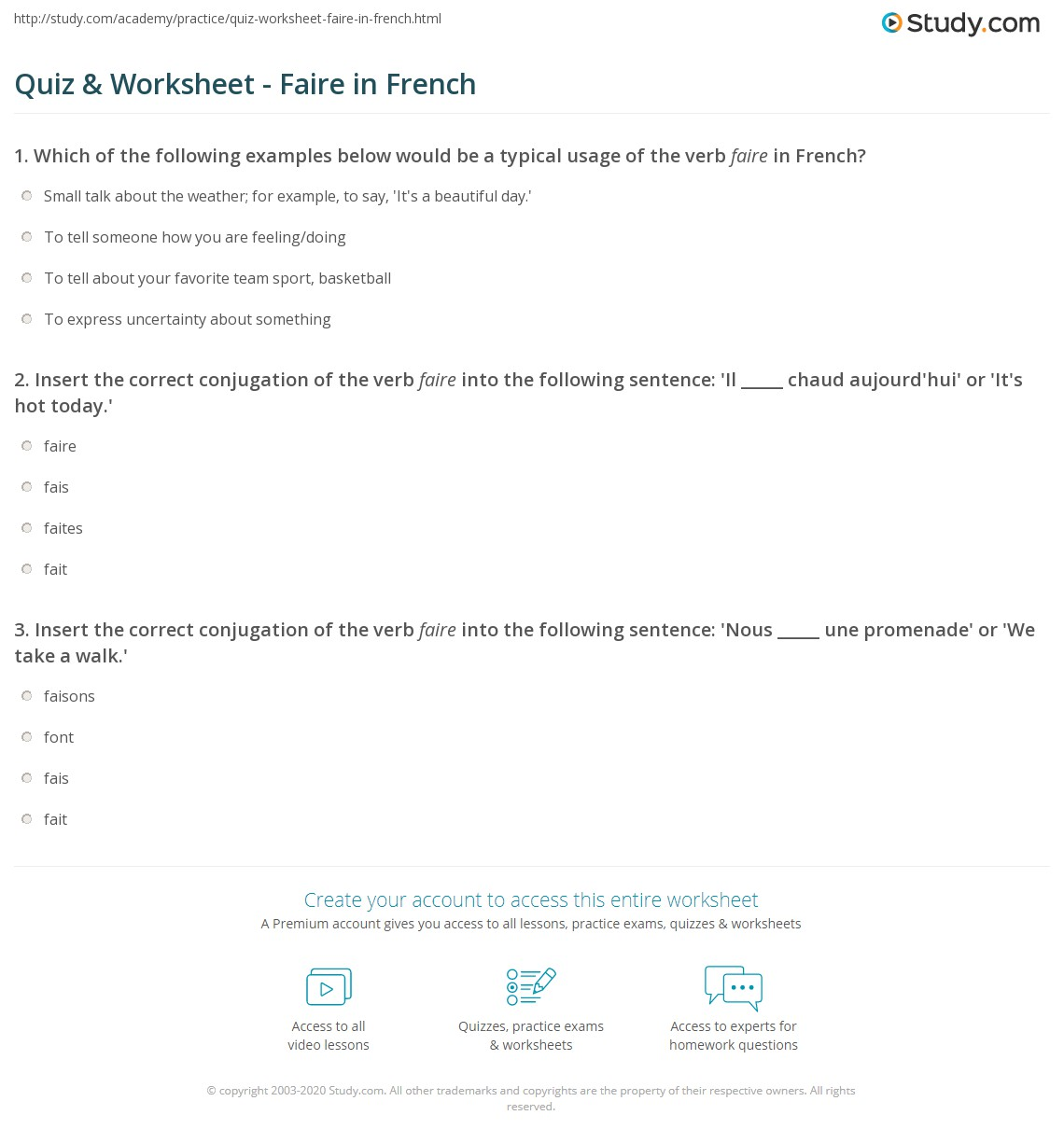 Worksheets French Reading Comprehension Worksheets quiz worksheet faire in french study com print conjugation meaning worksheet
