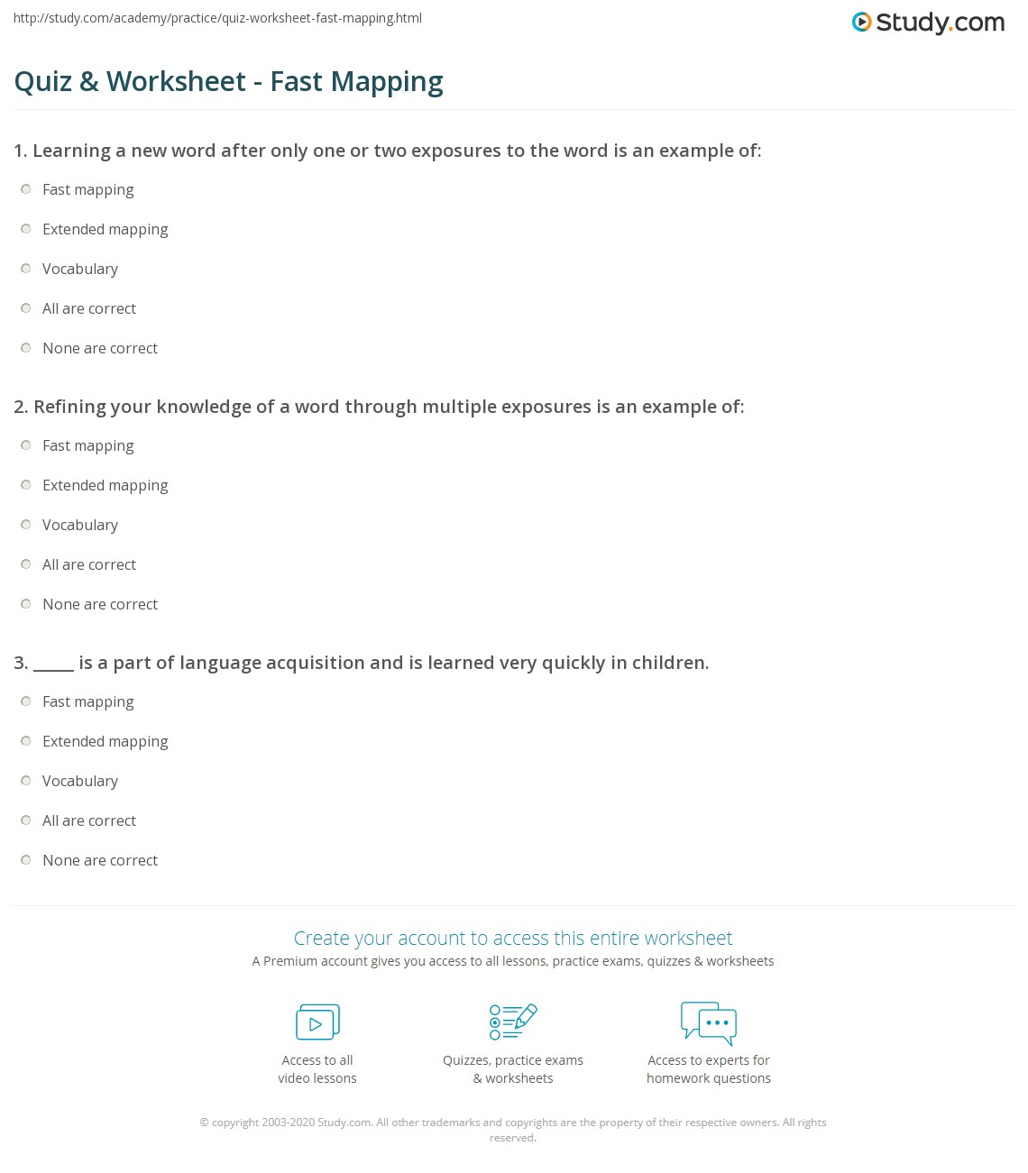 quiz worksheet fast mapping study