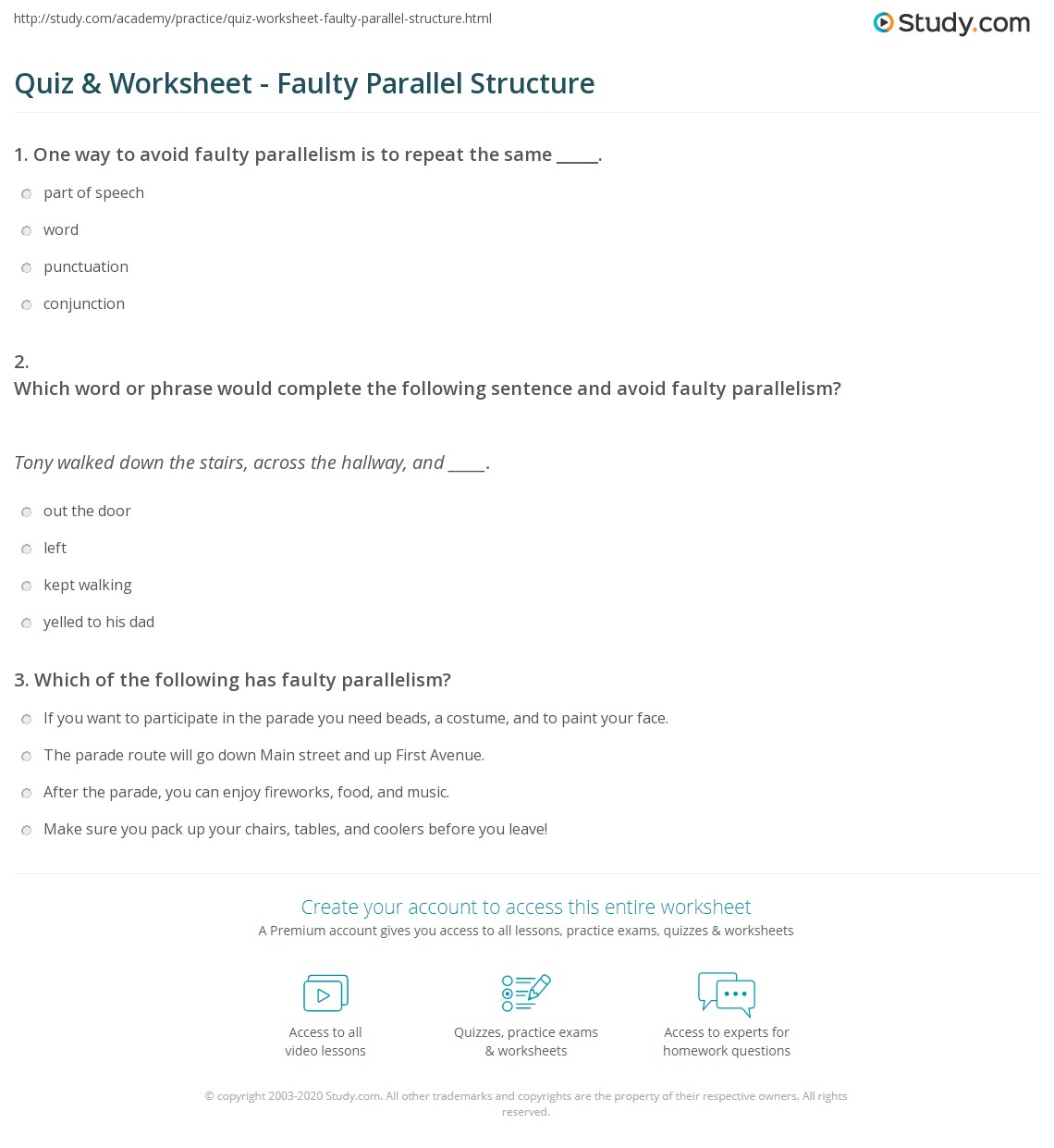 Quiz & Worksheet - Faulty Parallel Structure  Study.com multiplication, free worksheets, education, and worksheets for teachers Faulty Parallelism Worksheets 2 1410 x 1140