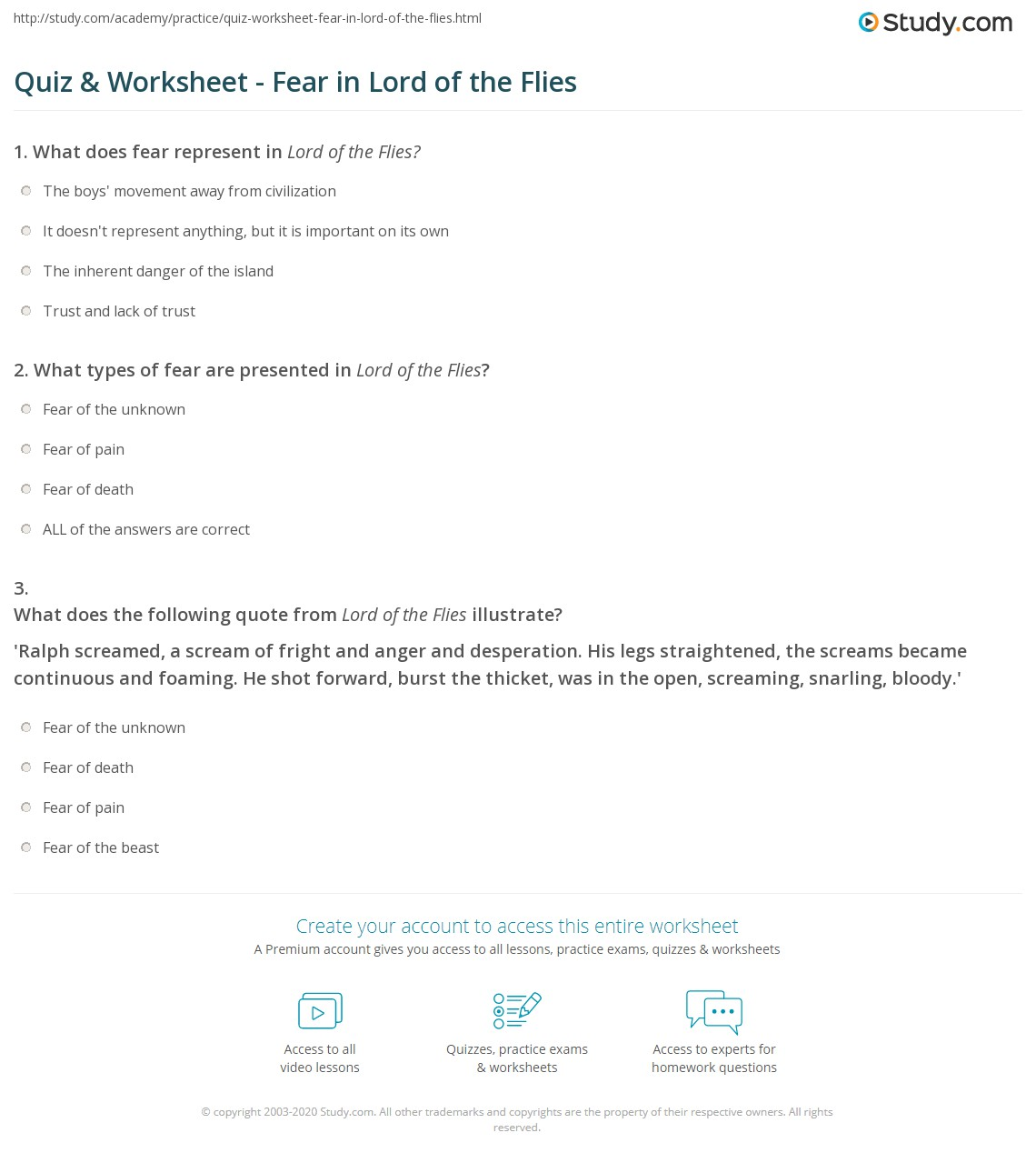 quiz worksheet fear in lord of the flies com print fear in lord of the flies analysis quotes worksheet