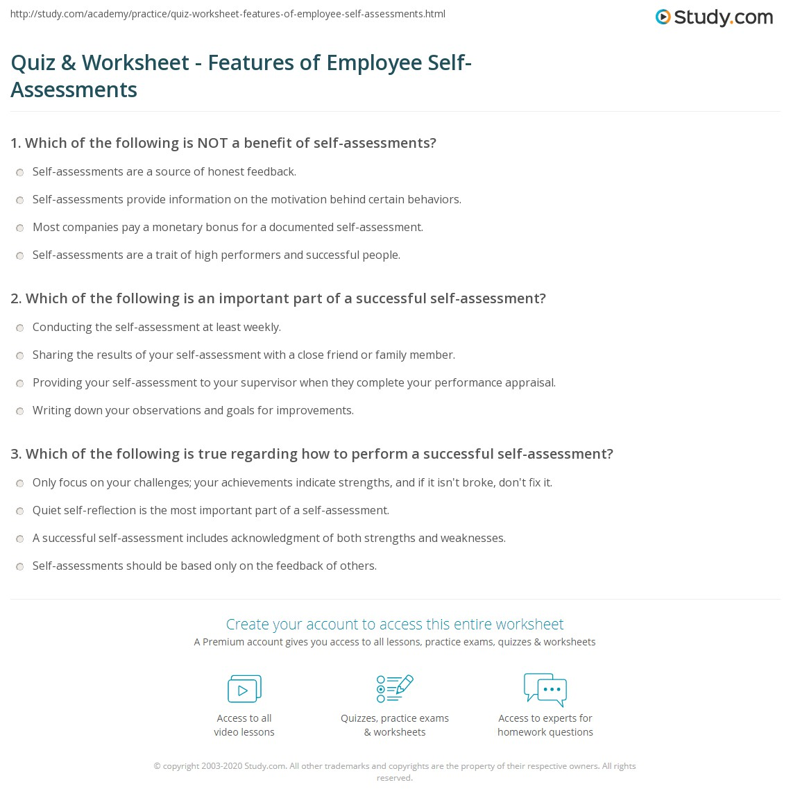 quiz worksheet features of employee self assessments study com print employee self assessment example concept worksheet