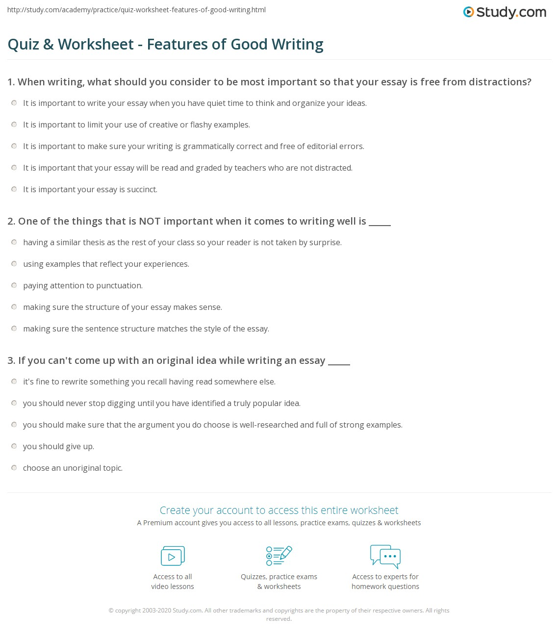 quiz worksheet features of good writing com print how to write well what makes writing good worksheet