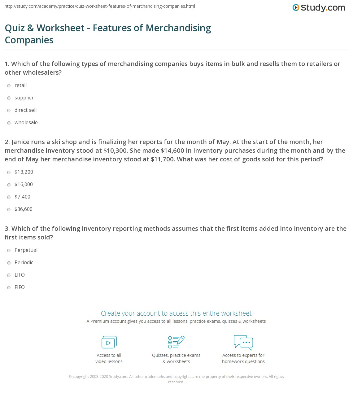 quiz worksheet features of merchandising companies. Black Bedroom Furniture Sets. Home Design Ideas