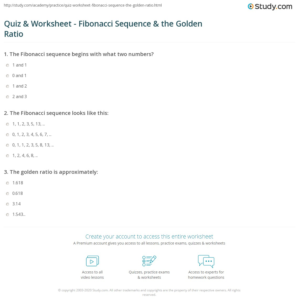 Quiz & Worksheet - Fibonacci Sequence & the Golden Ratio | Study.com