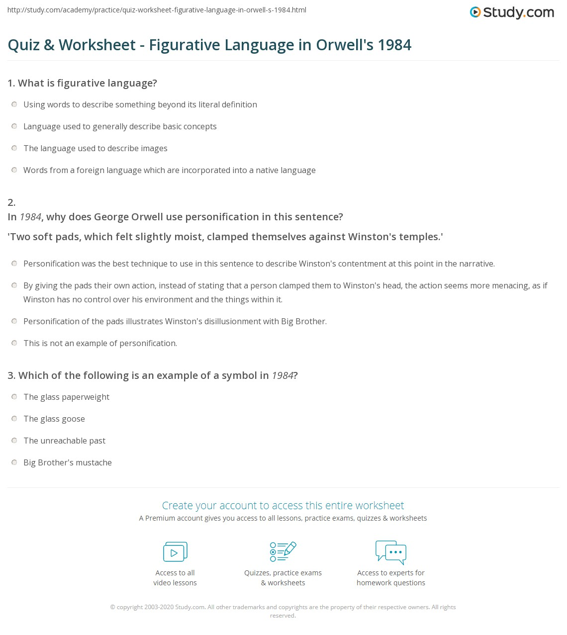 quiz worksheet figurative language in orwell s com print figurative language in 1984 worksheet