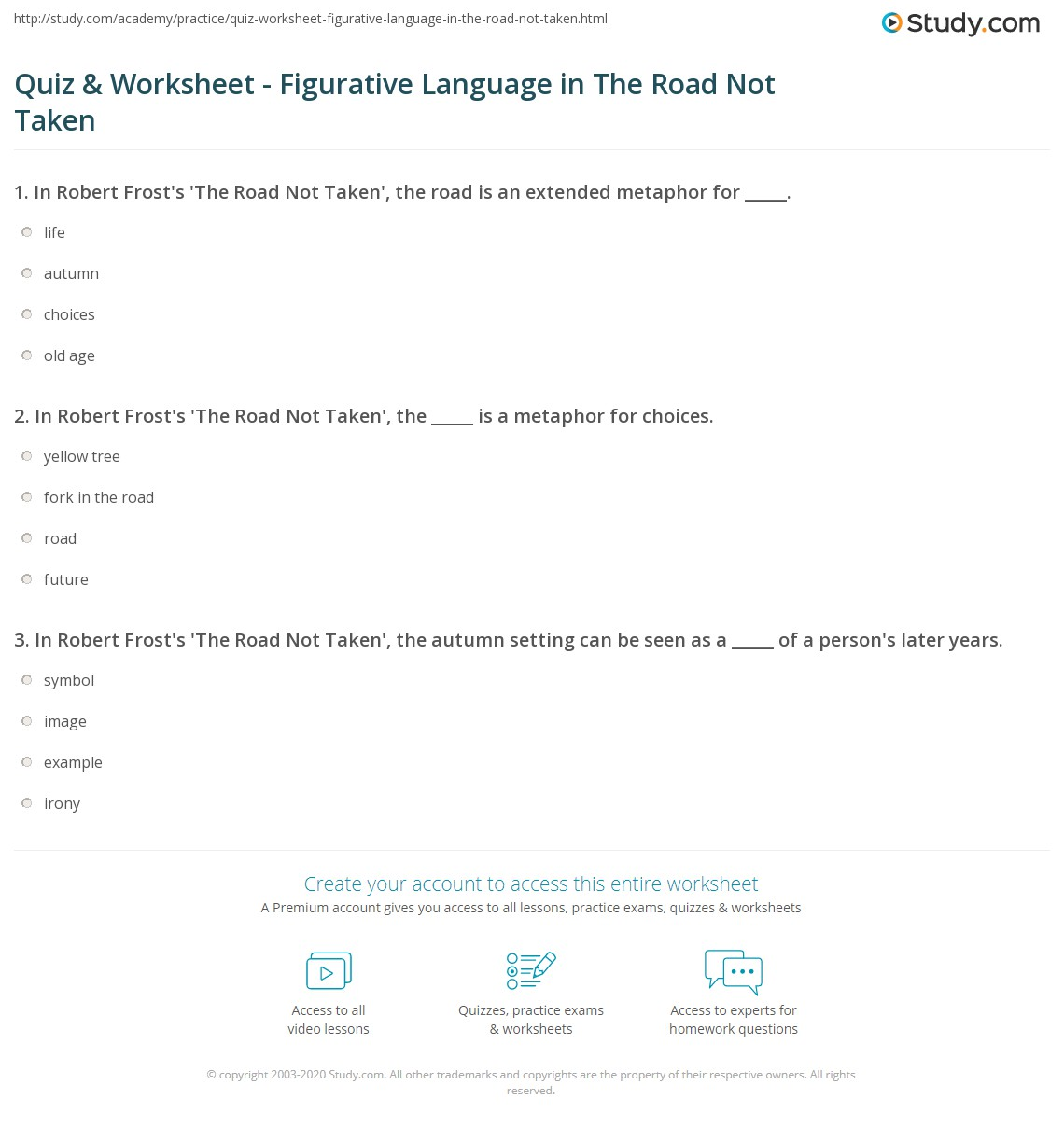 quiz worksheet figurative language in the road not taken in robert frost s the road not taken the is a metaphor for choices