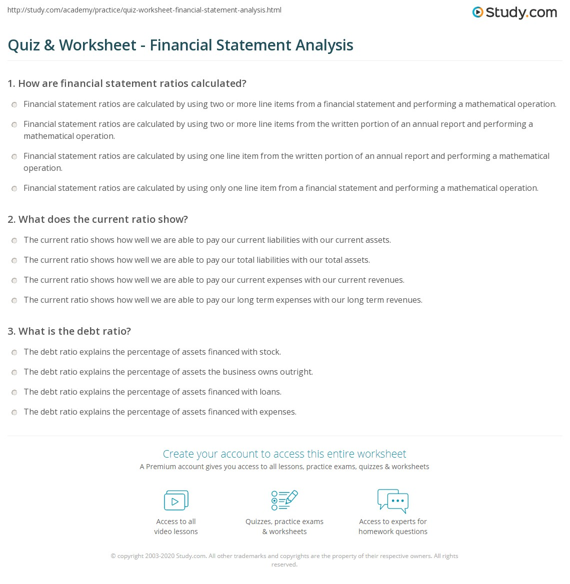 Free Worksheet Debt To Income Worksheet quiz worksheet financial statement analysis study com print definition purpose elements examples worksheet