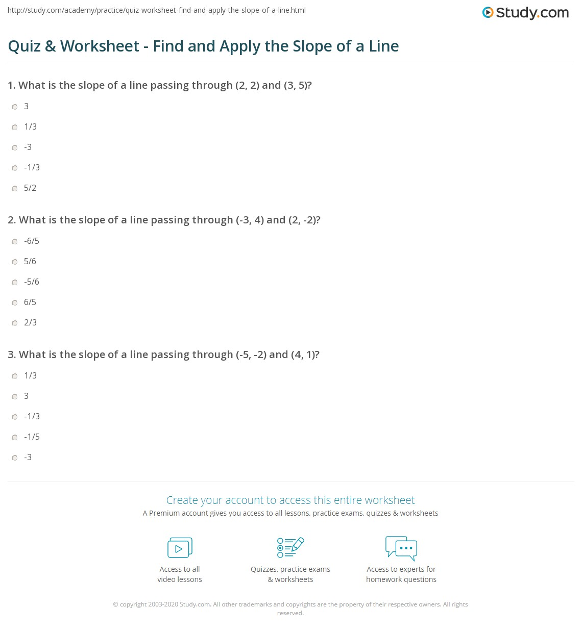 Quiz Worksheet Find and Apply the Slope of a Line – Finding the Slope of a Line Worksheet