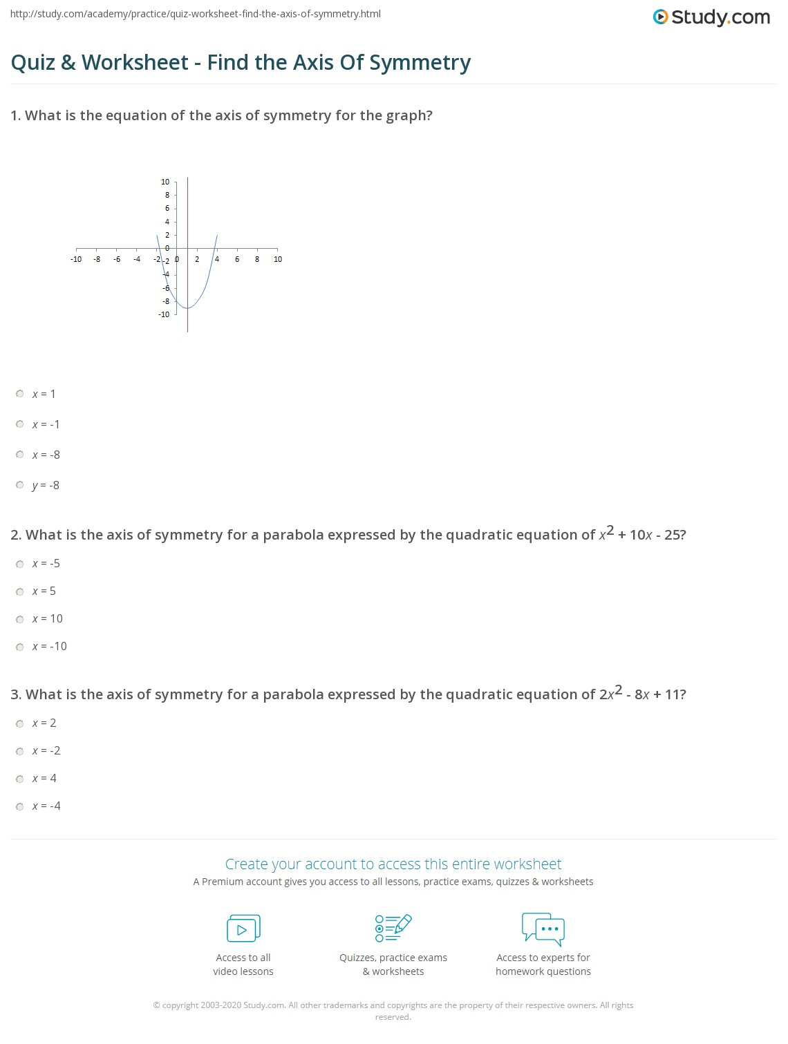 {Quiz Worksheet Find the Axis Of Symmetry – Axis of Symmetry Worksheet