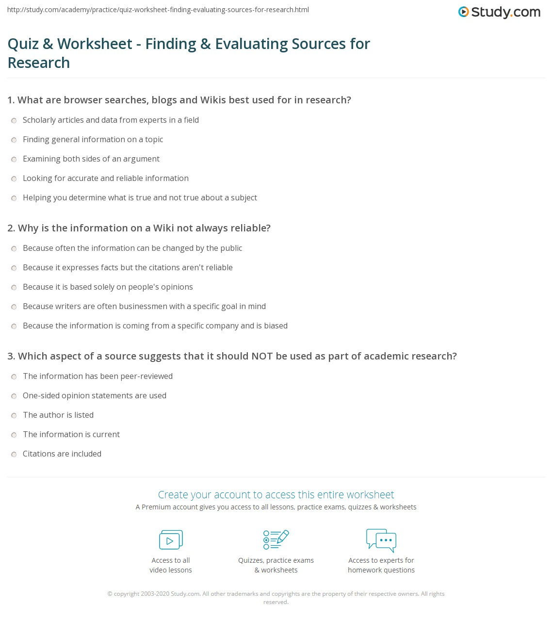 worksheet Evaluating Sources Worksheet quiz worksheet finding evaluating sources for research print worksheet