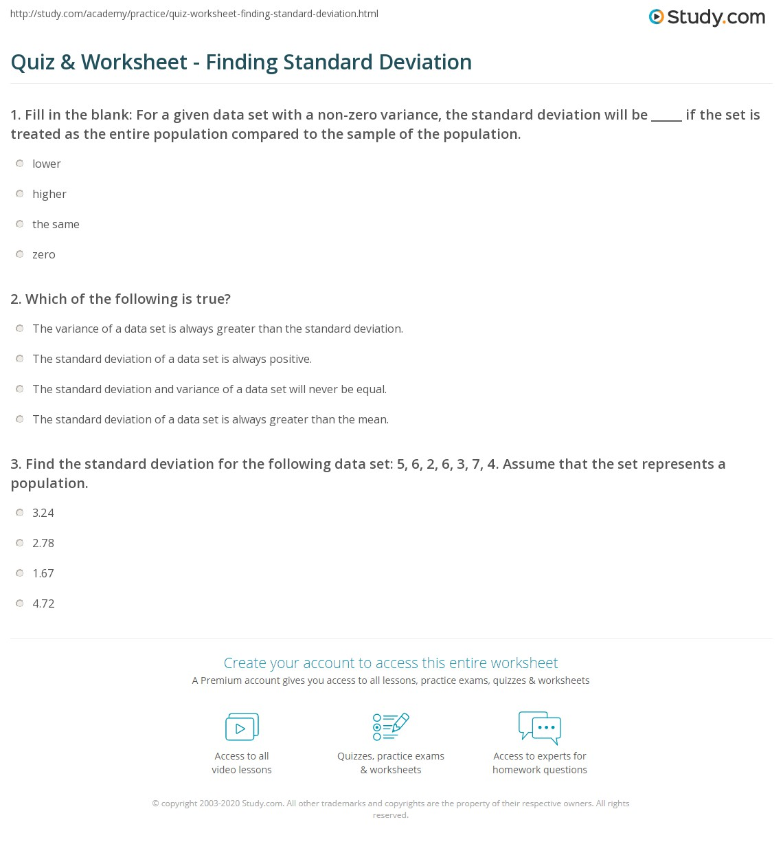 {Quiz Worksheet Finding Standard Deviation – Standard Deviation Worksheets