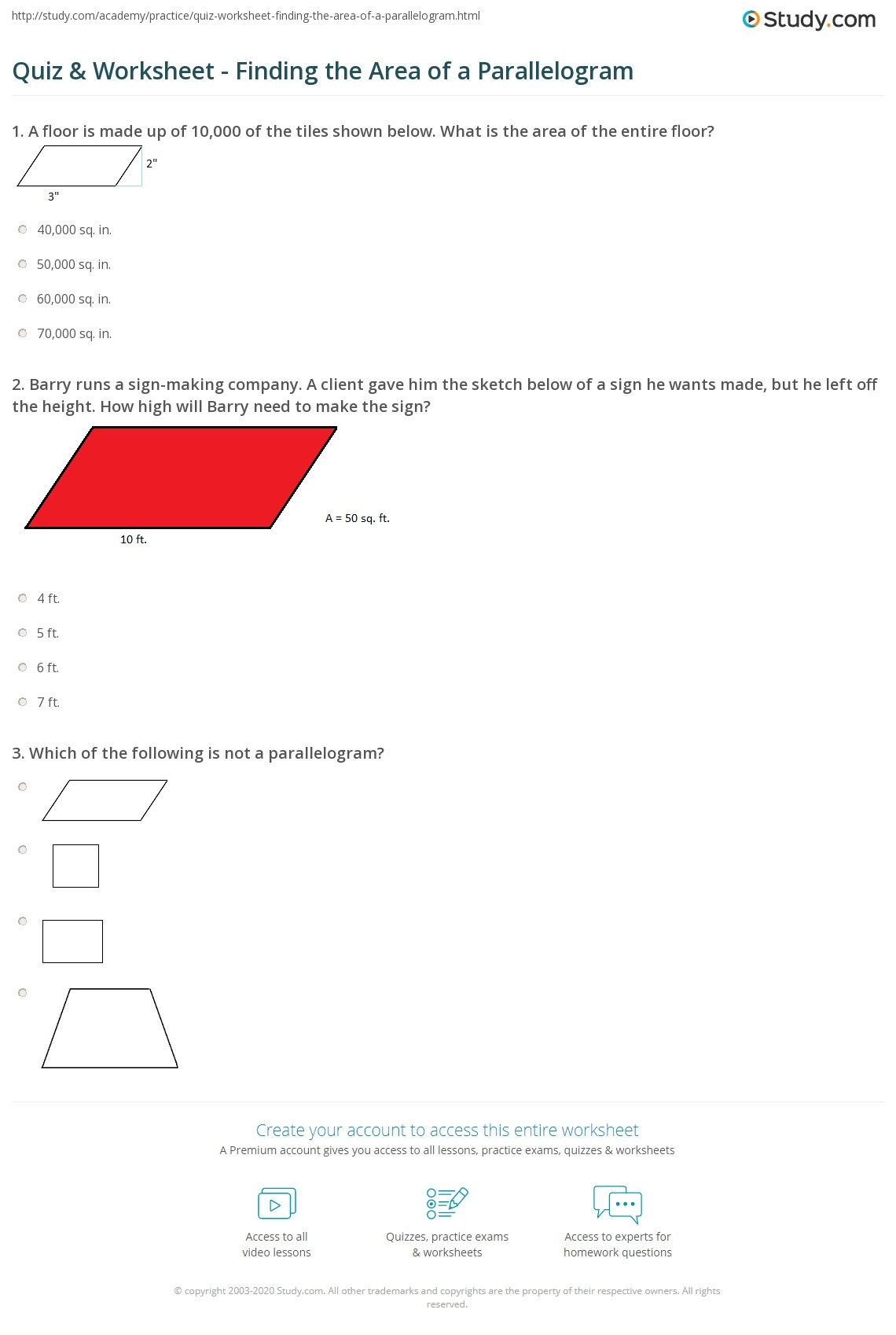 Worksheets Area Of A Parallelogram Worksheet quiz worksheet finding the area of a parallelogram study com 1 barry runs sign making company client gave him sketch below he wants made but left off height how hig
