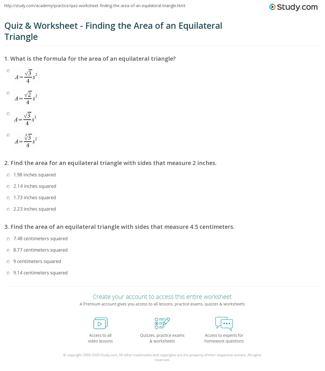 Uncategorized Area Of Triangle Worksheets quiz worksheet finding the area of an equilateral triangle print how to find worksheet