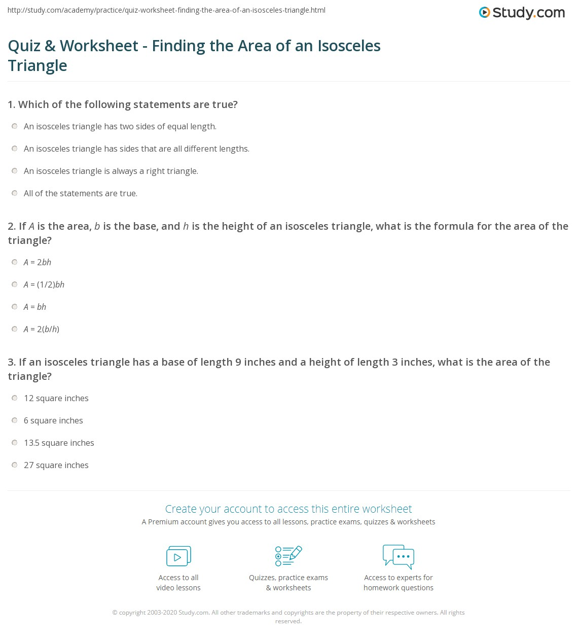 Quiz Worksheet Finding the Area of an Isosceles Triangle – Area of a Triangle Worksheet