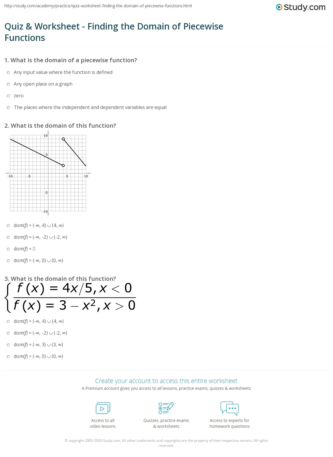 Quiz Worksheet Finding the Domain of Piecewise Functions – Linear Piecewise Functions Worksheet
