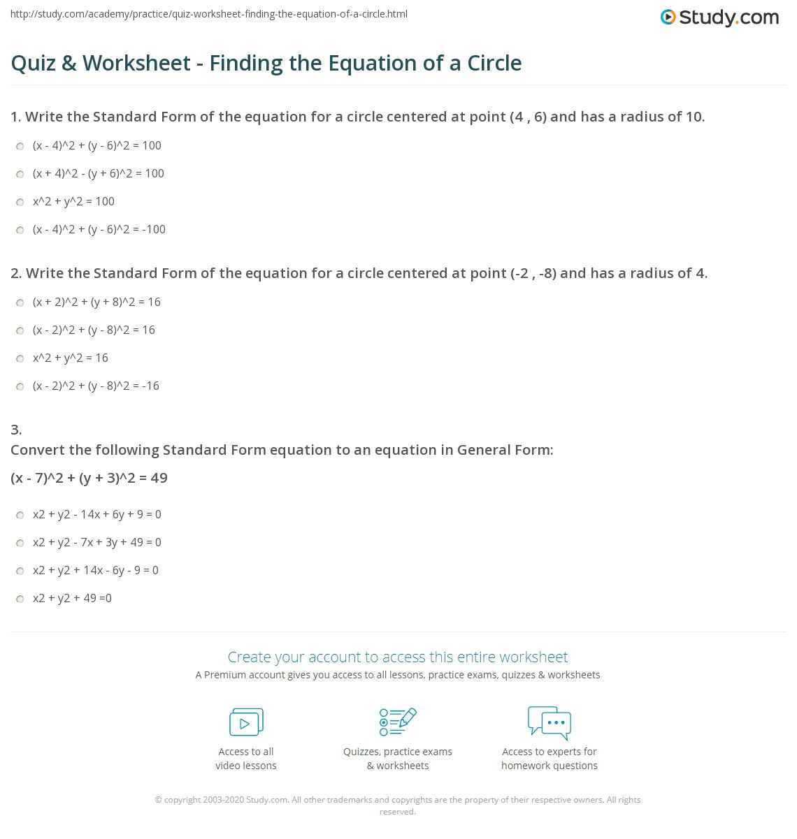 Quiz Worksheet Finding the Equation of a Circle – Equations of Circles Worksheet