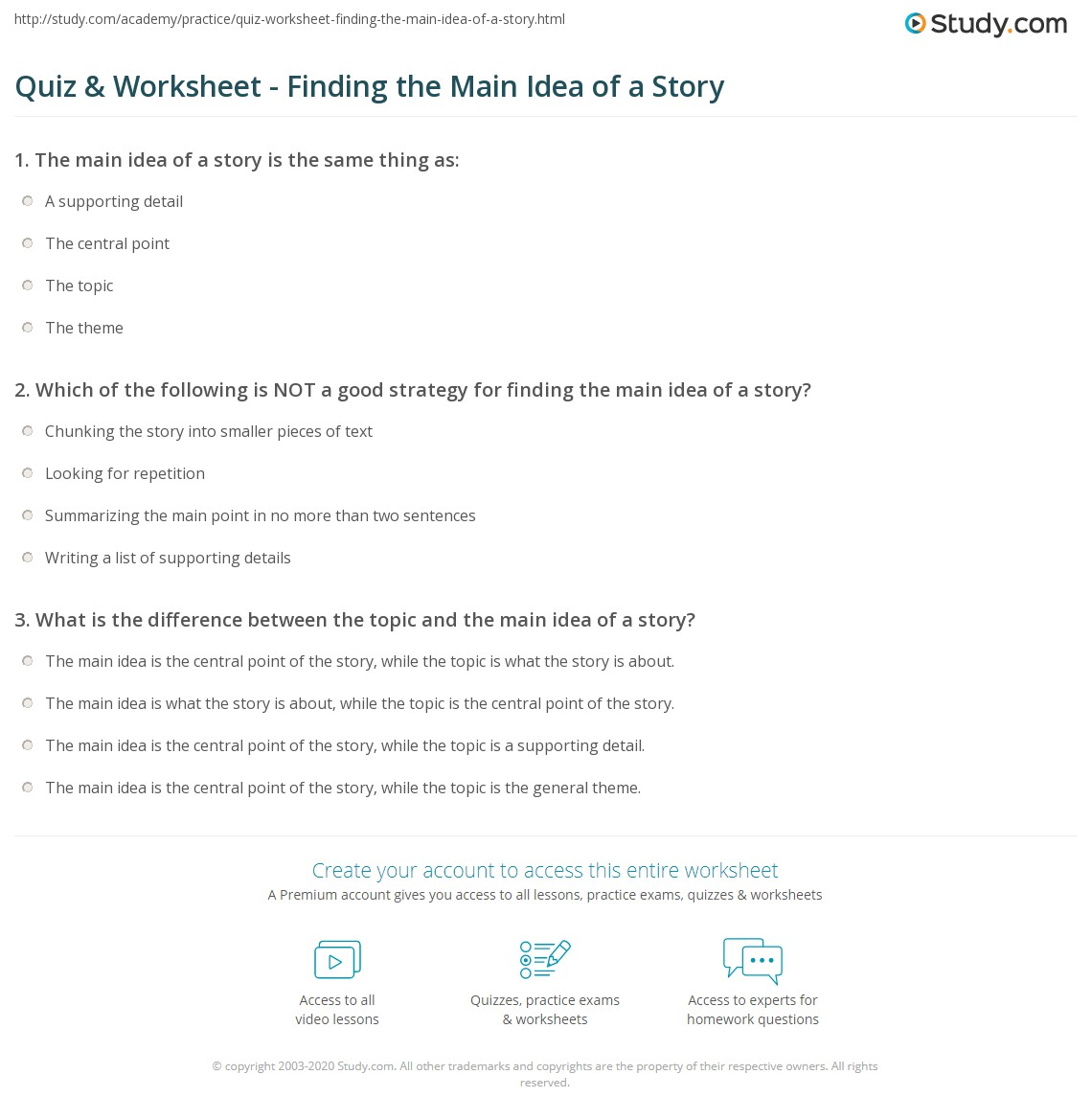 worksheet Free Main Idea Worksheets quiz worksheet finding the main idea of a story study com print what is worksheet