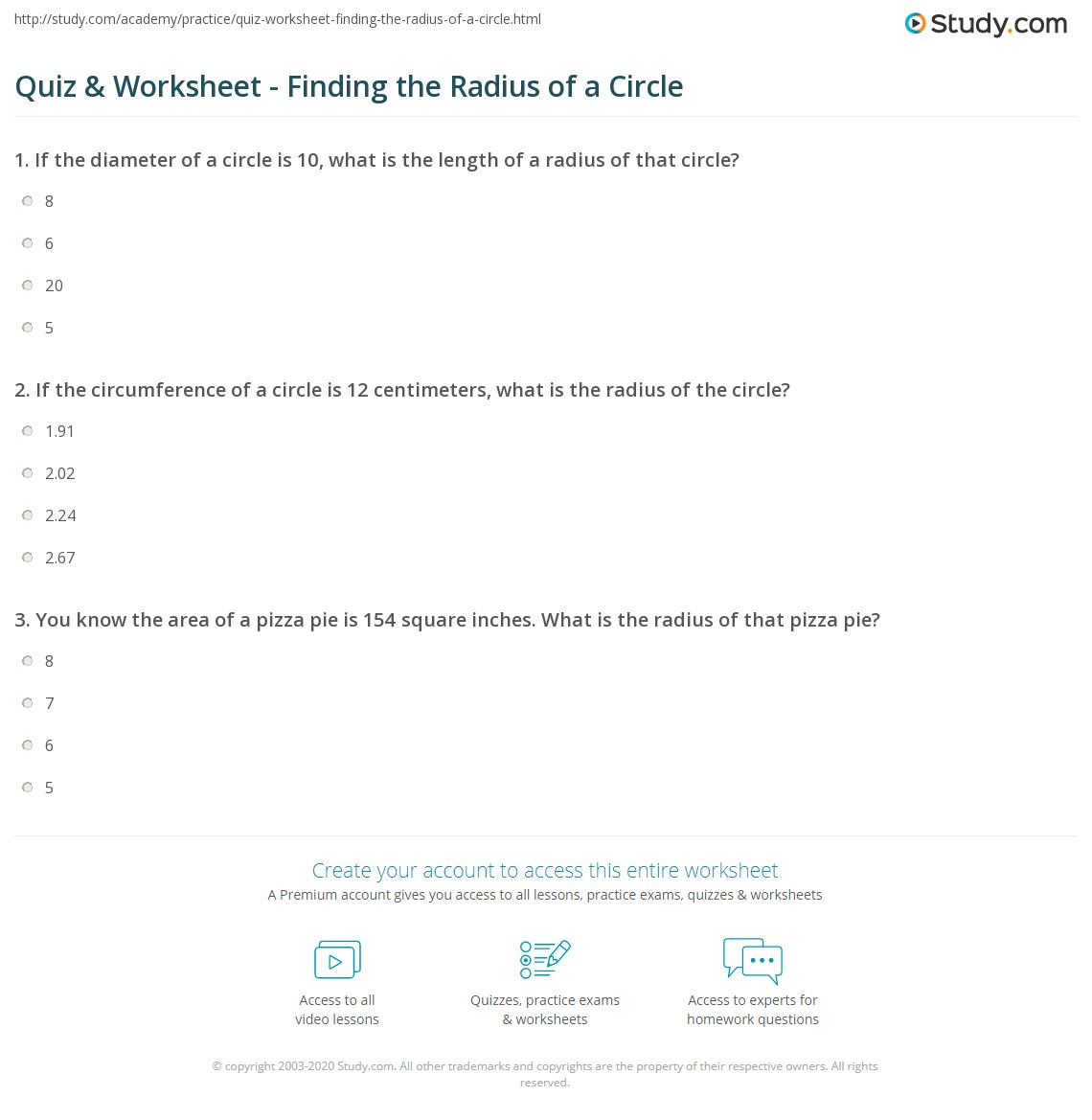Quiz worksheet finding the radius of a circle study print how to find the radius of a circle definition formula worksheet ccuart Images