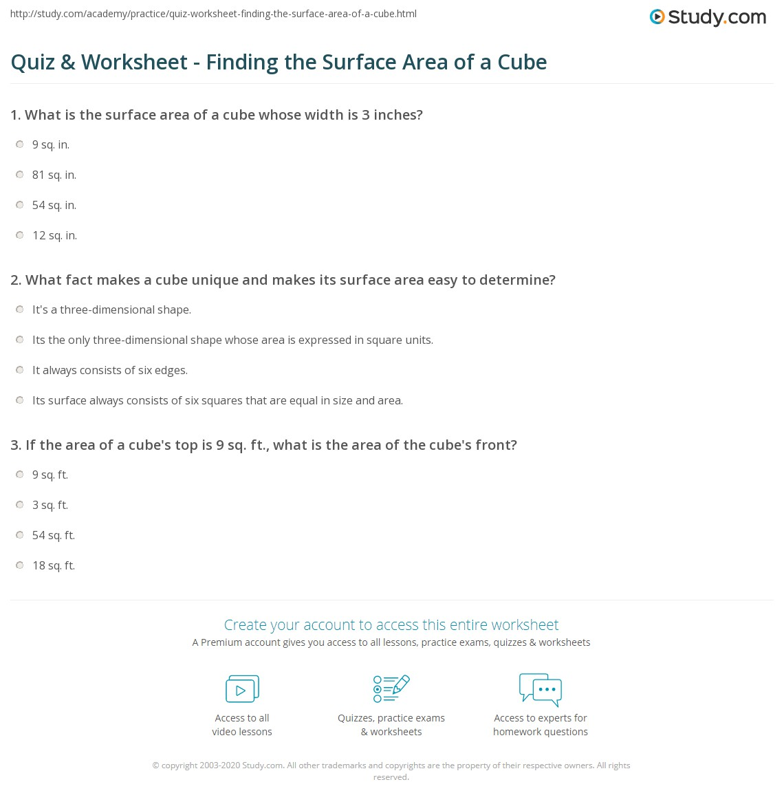Worksheets Surface Area Of A Cube Worksheet quiz worksheet finding the surface area of a cube study com print how to find worksheet