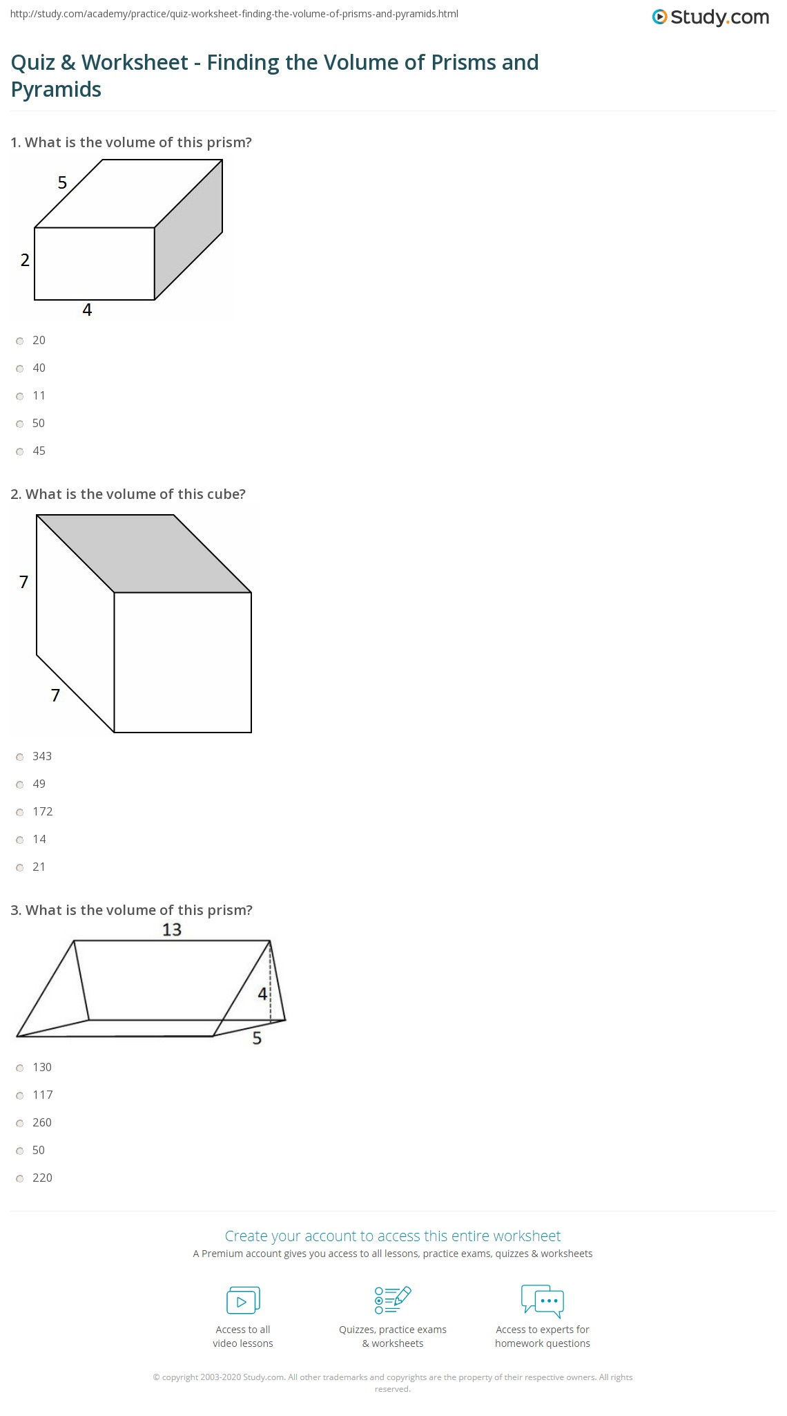 Quiz Worksheet Finding the Volume of Prisms and Pyramids – Volume of Prism Worksheet