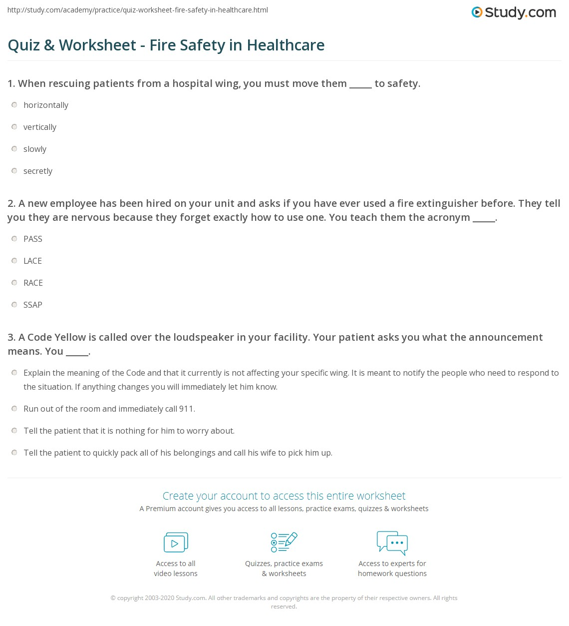 Worksheets Fire Safety Worksheets quiz worksheet fire safety in healthcare study com a new employee has been hired on your unit and asks if you have ever used extinguisher before they tell are nervous because t