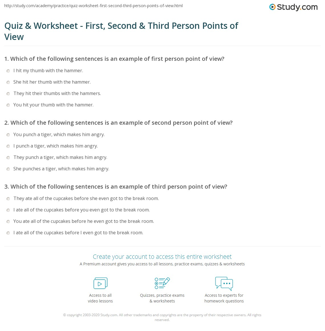 Quiz Worksheet First Second Third Person Points of View – Point of View Worksheets