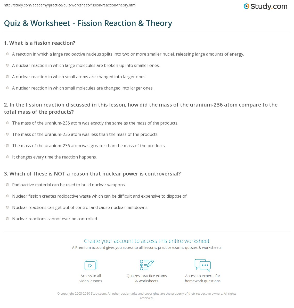 Quiz Worksheet Fission Reaction Theory – Nuclear Reaction Worksheet