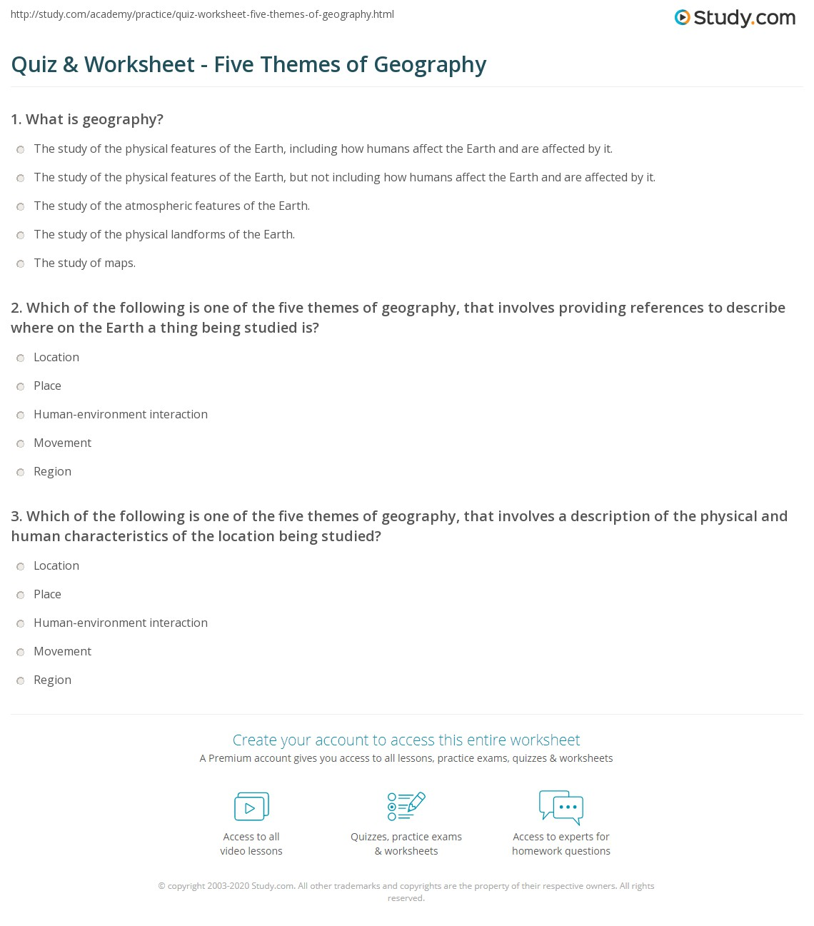 Quiz Worksheet Five Themes of Geography – Geography Worksheets High School