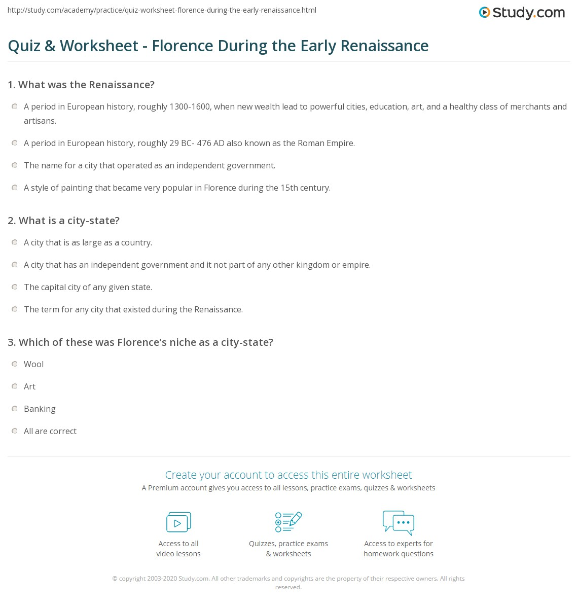 Quiz Worksheet Florence During the Early Renaissance – Renaissance Worksheets