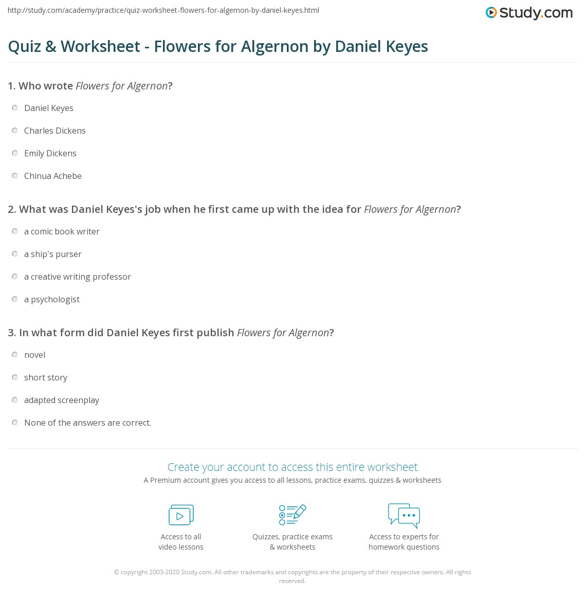 quiz worksheet flowers for algernon by daniel keyes com what was daniel keyes s job when he first came up the idea for flowers for algernon