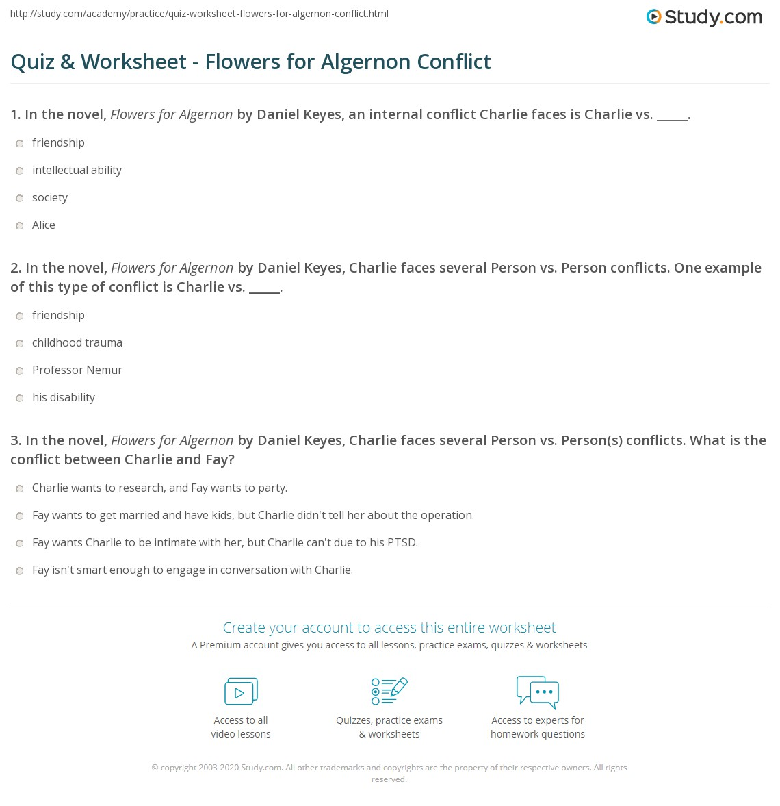 flowers for algernon worksheets the best flowers ideas quiz worksheet flowers for algernon conflict study com