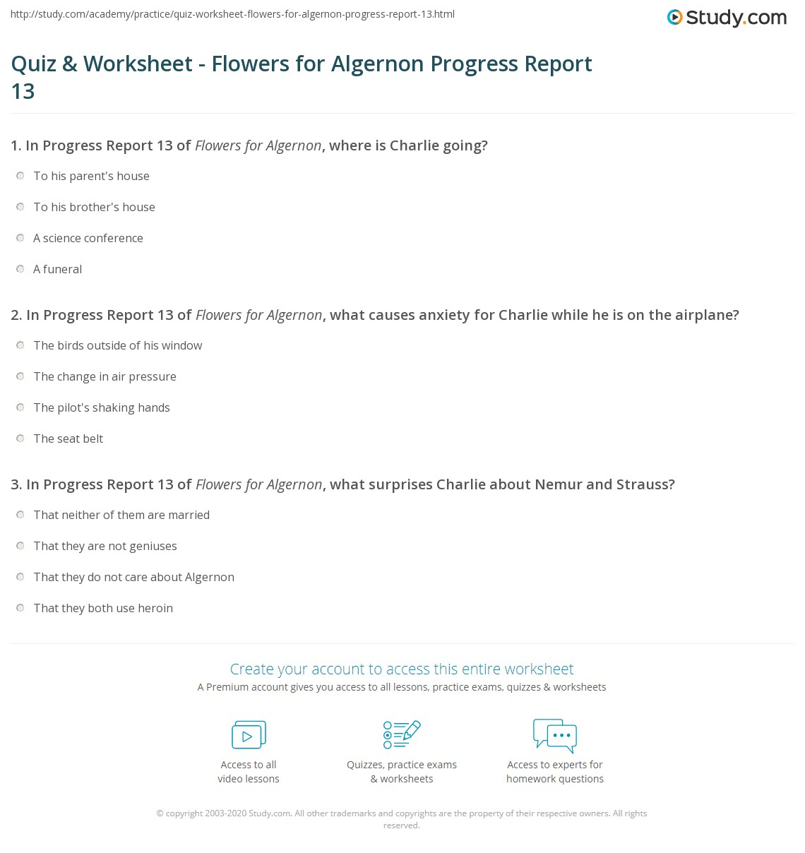 quiz worksheet flowers for algernon progress report 13 com print flowers for algernon progress report 13 summary worksheet