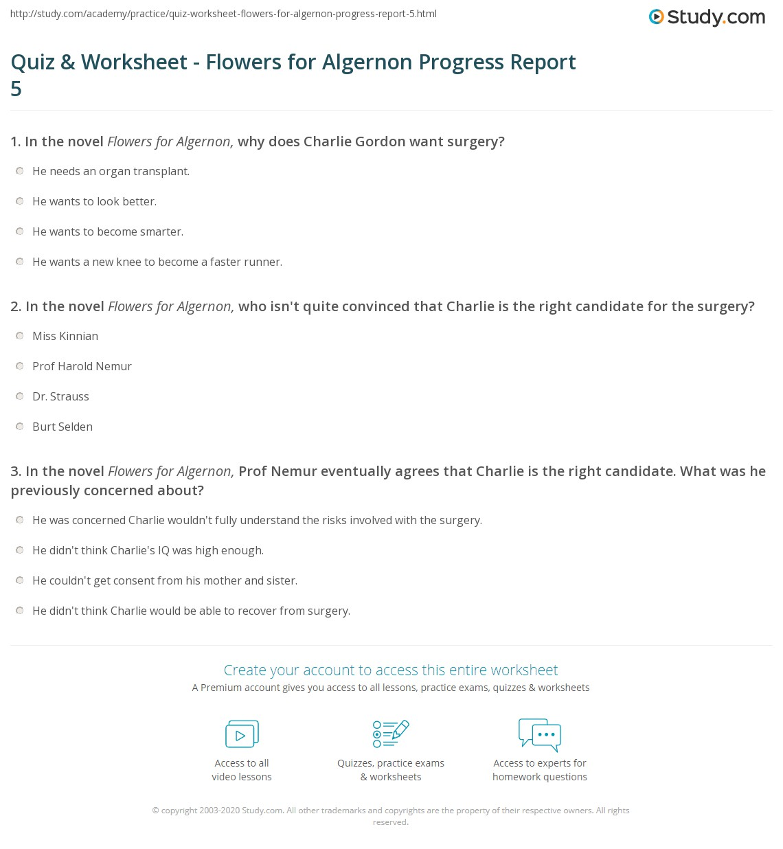 Worksheets Flowers For Algernon Worksheets quiz worksheet flowers for algernon progress report 5 study com print summary worksheet