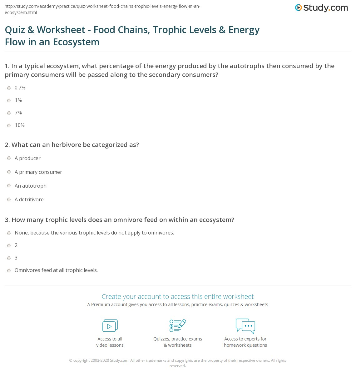 Printables Energy Flow In Ecosystems Worksheet quiz worksheet food chains trophic levels energy flow in an print and ecosystem worksheet